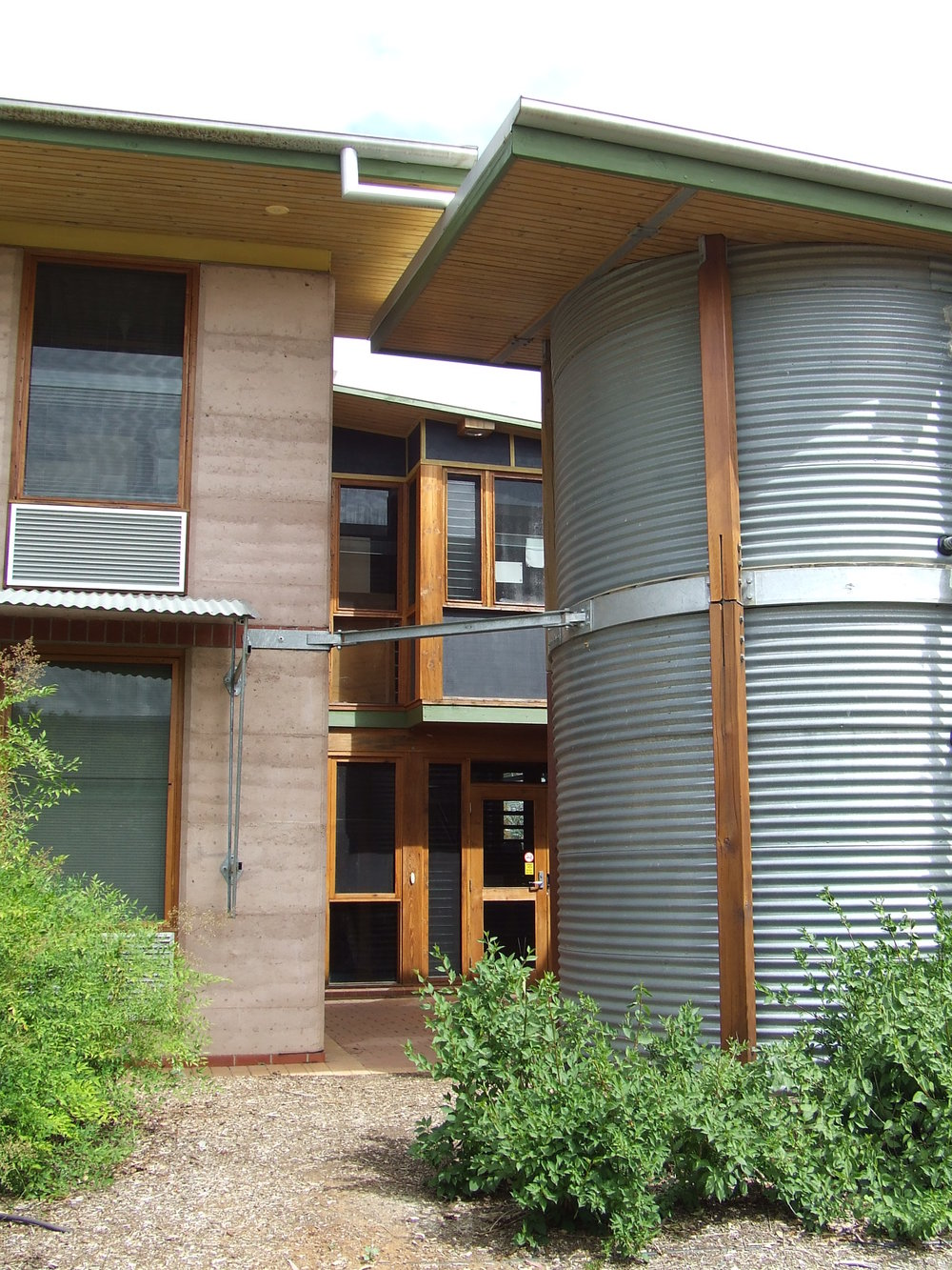 Rainwater harvesting is done directly, straght from the roof to the tank.