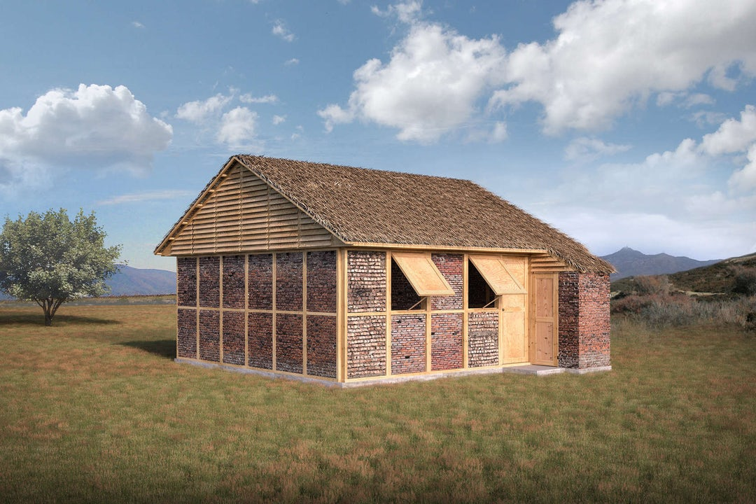 Shigeru Ban's rubble and cardboard earthquake resistant design. Uses roof thatching and ventilation to keep the roof cool.