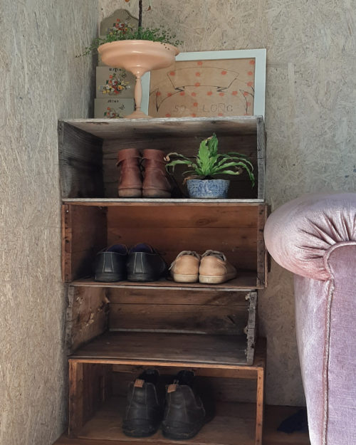 Shoe rack made from recycled timber crates